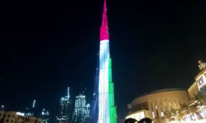 Burj Khalifa Displays Colors Of UAE's Flag On 48th National Day
