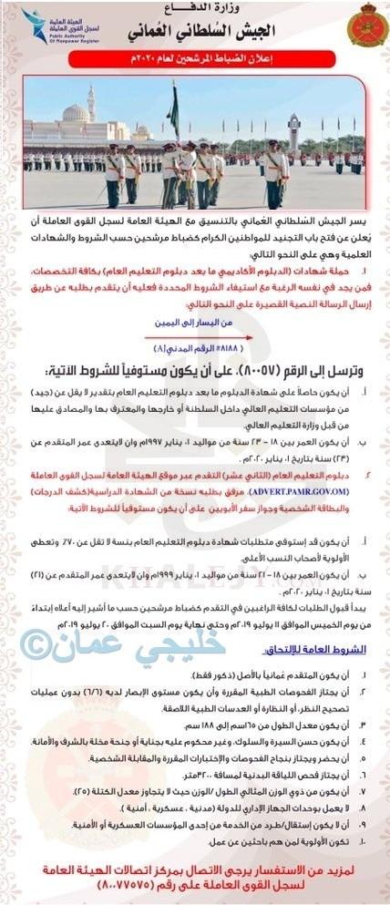 الجيش السلطاني العماني يعلن فتح باب التجنيد
