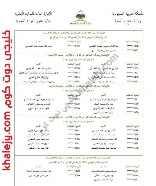 وزارة الحج أسماء ومواعيد المقابلات الشخصية للمرشحين والمرشحات علي وظائفها
