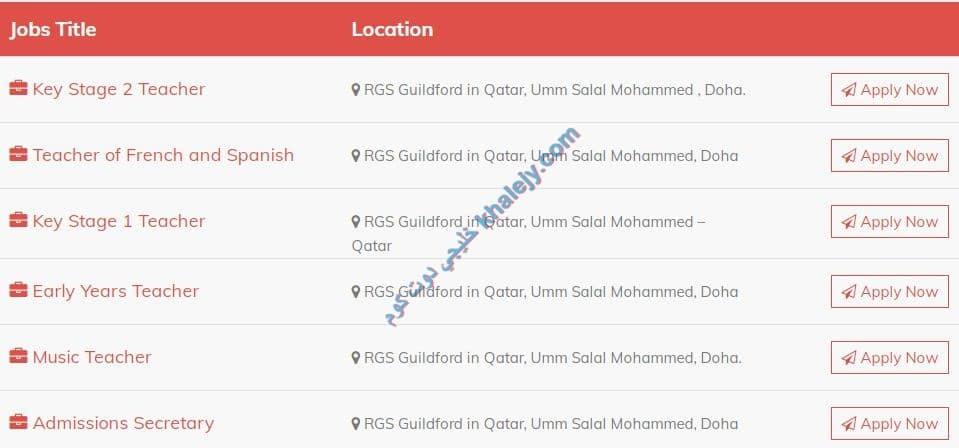وظائف مدرسة RGS الدولية في قطر مدرسين وسكرتارية