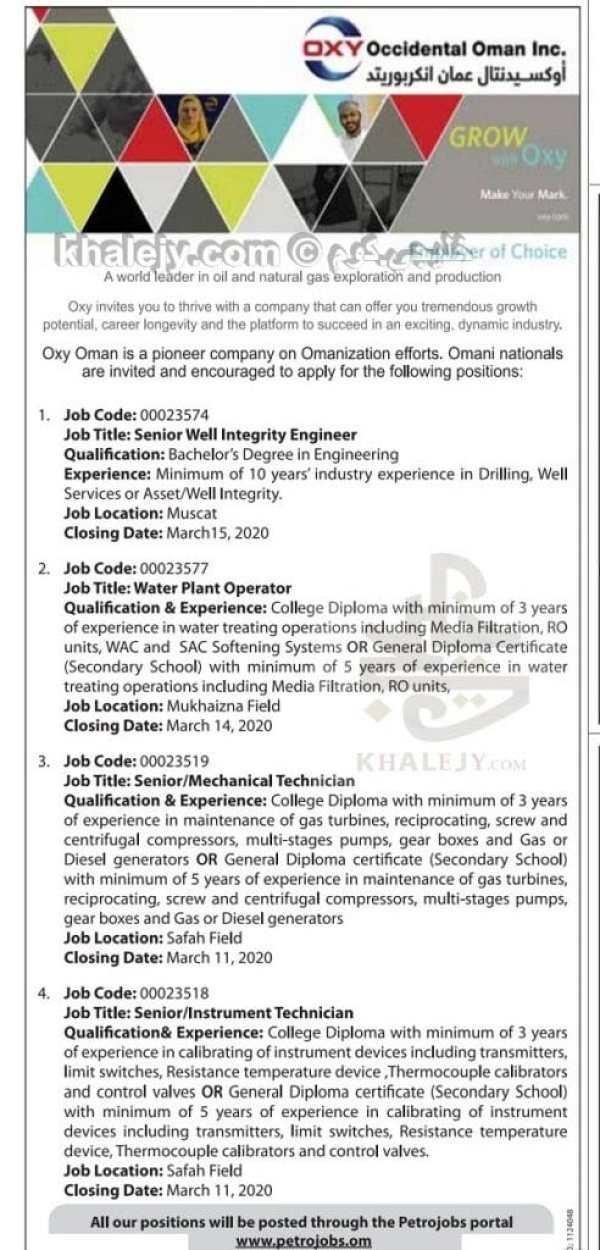 وظائف جديدة شركة اوكسيدنتال عمان بتاريخ اليوم