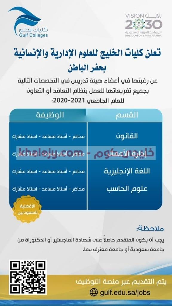 وظائف اكاديمية لأعضاء هيئة التدريس 2020 - 2021 - خليجي.كوم