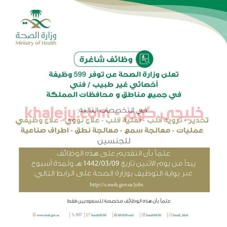 وظائف وزارة الصحة 1442 في كافة المناطق (599 وظيفة )