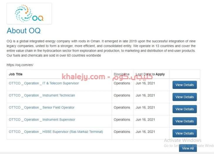وظائف شركة أو كيو OQ للمواطنين والاجانب 30 فرصة شاغرة
