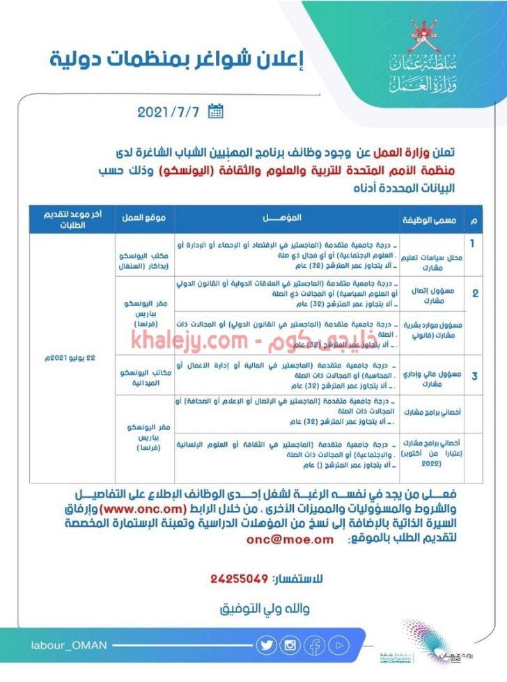 وزارة العمل تعلن عن برنامج المهنيين الشباب الشاغرة لدى (اليونسكو)