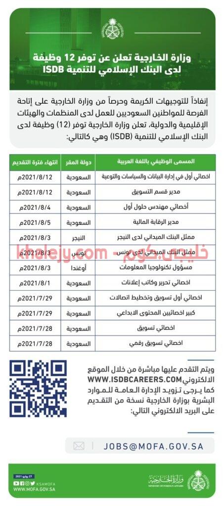 اعلان وظائف وزارة الخارجية