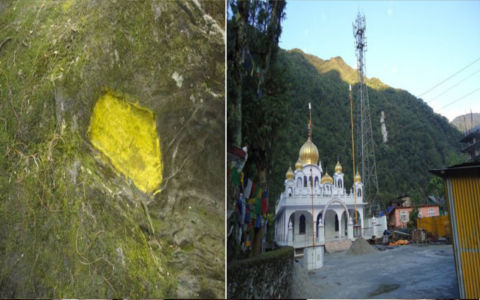 Footsteps on stone coloured yellow Tower Erected near Gurdwara