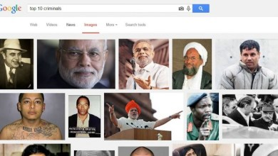Indian Prime Minister Narendra Modi's picture appears thrice on a Google Image search of 'Top 10 Criminals'..