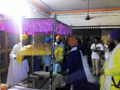 Prakash of Dhan Dhan Sri Guru Granth Sahib Ji Maharaj at the house of Bapu Surat Singh Khalsa in Hassanpur today. 1