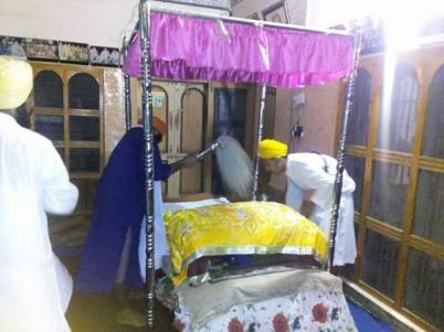 Prakash of Dhan Dhan Sri Guru Granth Sahib Ji Maharaj at the house of Bapu Surat Singh Khalsa in Hassanpur today. 4