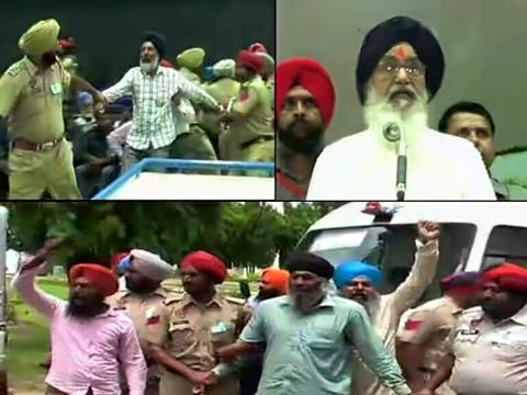 Kahlistan Protest During CM Badal's Speech at Punjab Univarsity Patiala
