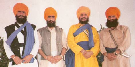 Left to Right: Shaheed Bhai Gurdeep Singh Vakeel (KLF), Shaheed Bhai Piara Singh, Shaheed Bhai Sukhdev Singh Babbar, Shahid Babbar Amarjeet Singh Shazada