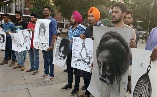 Silent protest by artists in Chandigarh sector 17 in support of Bapu Surat Singh Ji Khalsa's (1)