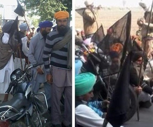 Black flags shown to Parkash Badal by farmers in Vilage Bharowal, Distt Khadoor Sahib.