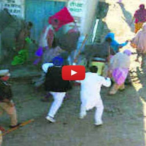 SAD Badal workers chase,