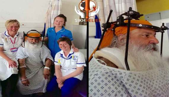 Balbir Singh Bains Fitted With A 'halo' Brace And On The Long Road To Recovery - He Sends A Message To The Sangat