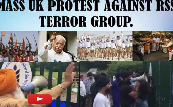 Videos :- UK Sikhs Protest Against RSS & Hindutva Terror Leader Mohan Bhagwat
