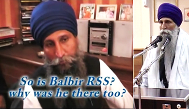 (Left) Giani Balbir Singh (Taksal) present at Tividale house meeting with RSS leader. (Right) Giani Balbir Singh (Taksal) performing Katha in East London, UK