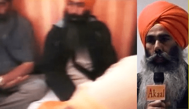 (Left) Giani Sohan Singh present at Tividale house meeting with RSS leader. (Right) Giani Sohan Singh speaking at Smethwick on 30 May 2016 organized by Jagowale Jatha condoning attempted murder of Bhai Dhadrianwale