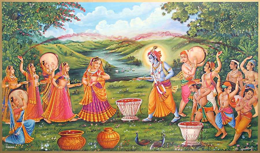 holi krisna with gopi