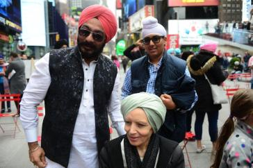 Sikhs of New York held Turban Day in Times Square to raise awareness of the religion as the community is often the target of hate crimes. (KENDALL RODRIGUEZ)