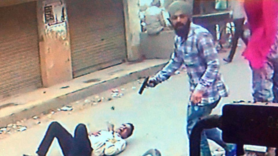 A CCTV grab showing the murder of Vipin Sharma, the district president of Hindu Sangharsh Sena in Amritsar.