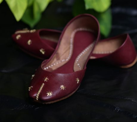 Maroon Leather Khussa
