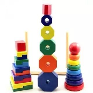 Thả hình khối ba trụ Montessori (Size nhỏ) Vivitoys