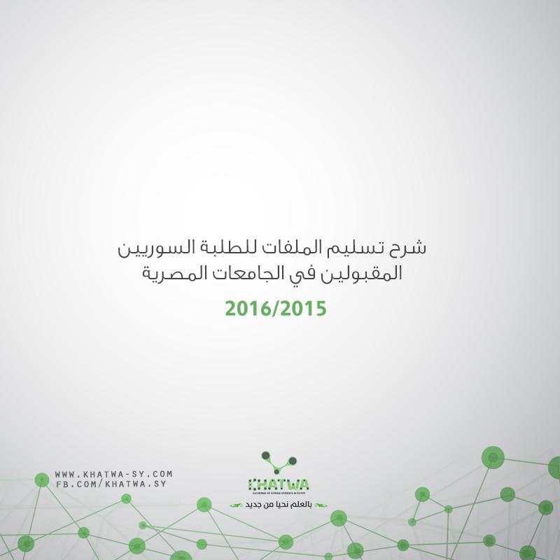 شرح تسليم الملفات للطلبة السوريين المقبولين في الجامعات المصرية 2015-2016