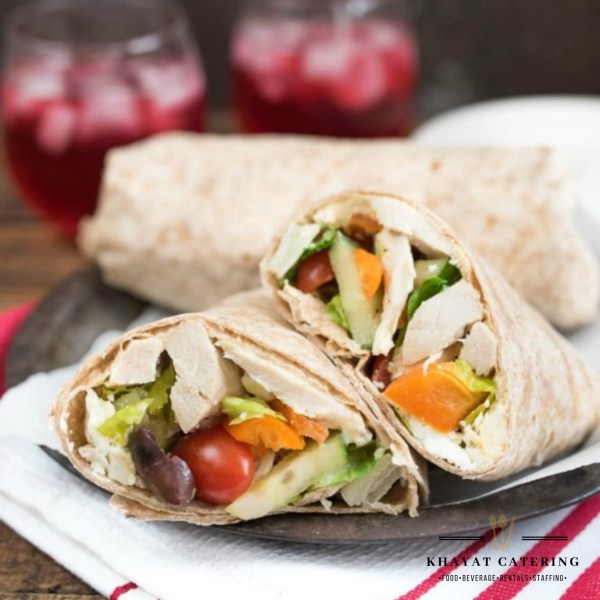 Khayat Catering Mediterranean chicken wrap