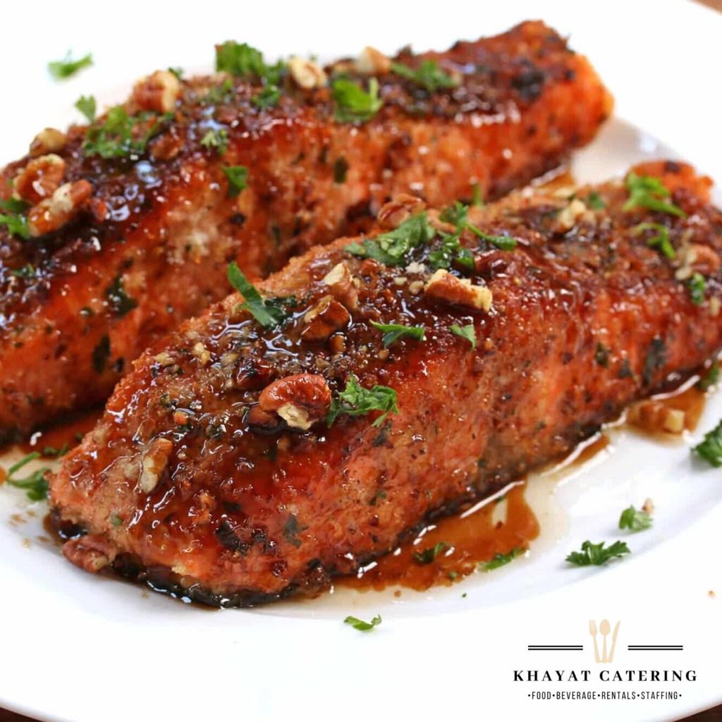 Khayat Catering candied Pecan Salmon