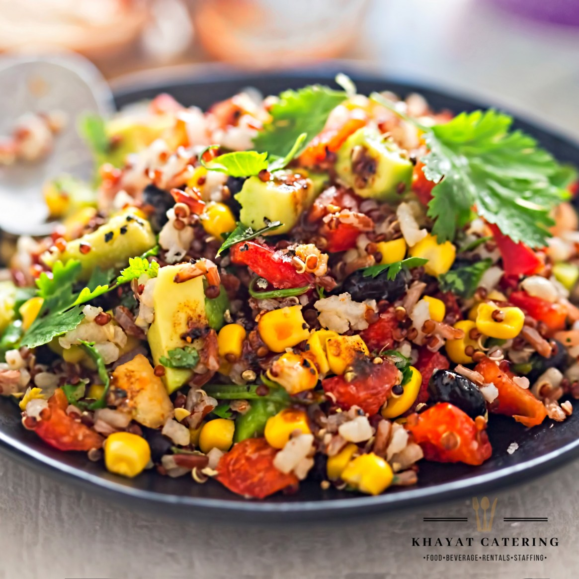 Khayat Catering roasted corn and black bean salad