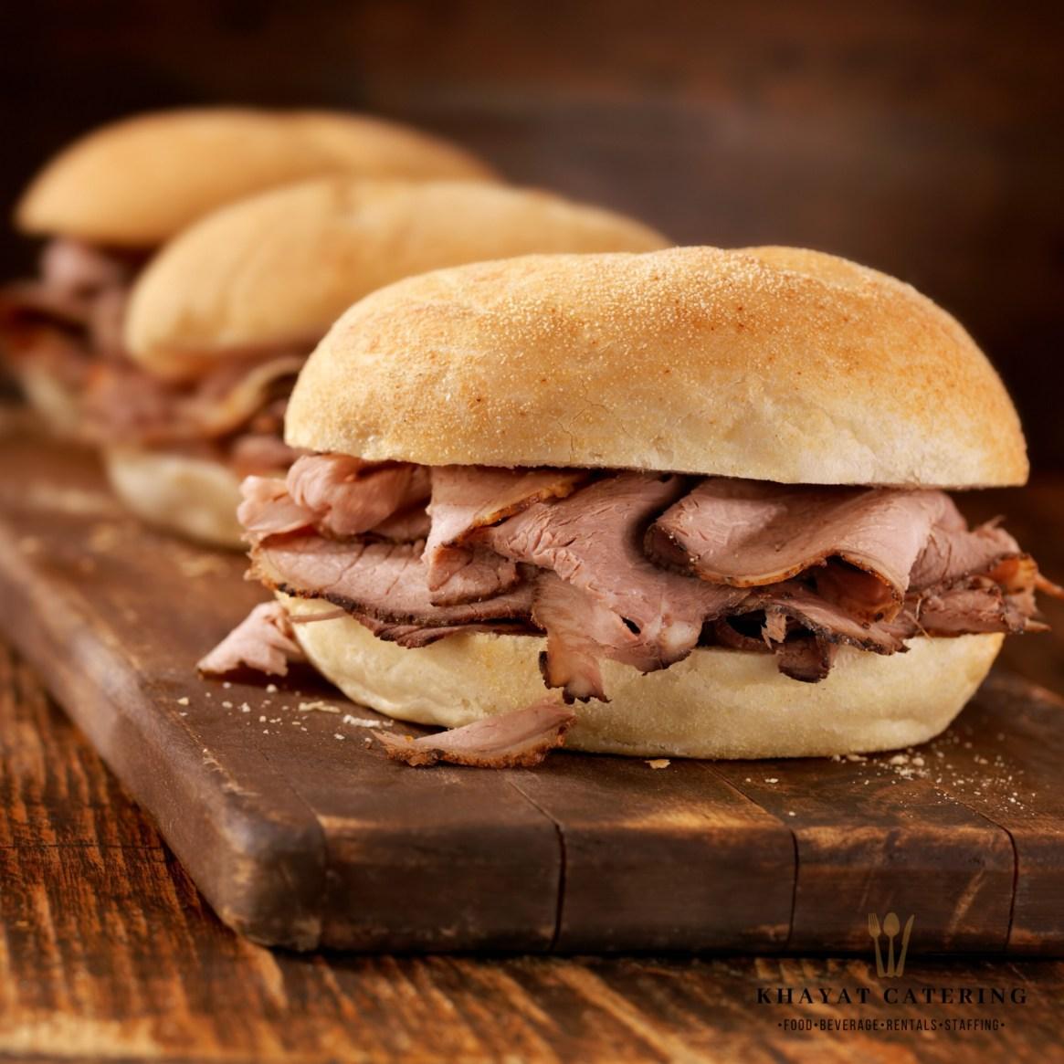 Khayat Catering shaved Prime rib sandwich