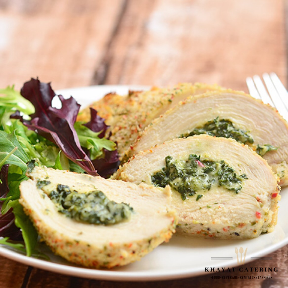 Khayat Catering stuffed Chicken Florentine