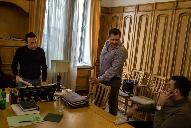 Hennadiy Korban, left, a multimillionaire and new deputy governor, with Mr. Filatov, center, and Vadim Shabanov, right, in the regional administrative building. Credit Mauricio Lima for The New York Times