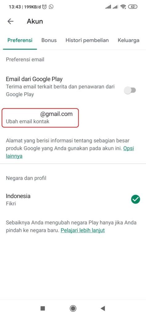 Cara ganti email di playstore android