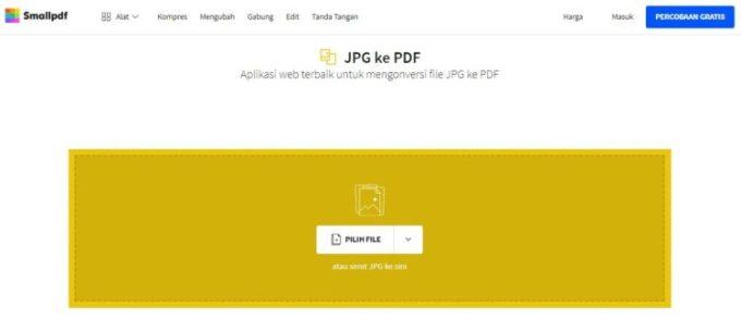 Mengubah jpg menjadi pdf menggunakan smallapdf