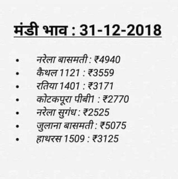 Mandi Bhav Today : 31-12-2018 | नरमा कपास धान मंडी भाव , dhaan bhav
