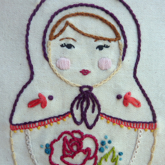 Matryoshka Embroidery Pattern, Vignette Series
