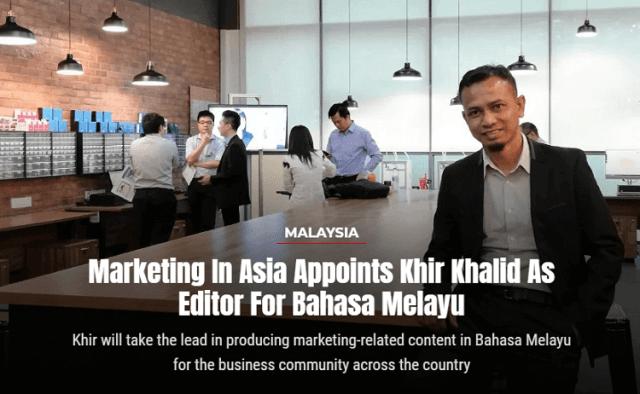 Perlantikan Sebagai Editor Marketing In Asia Edisi Bahasa Melayu, Portfolio,