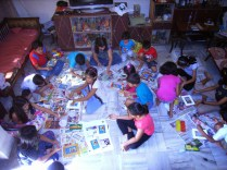 Kids paint photo frames….
