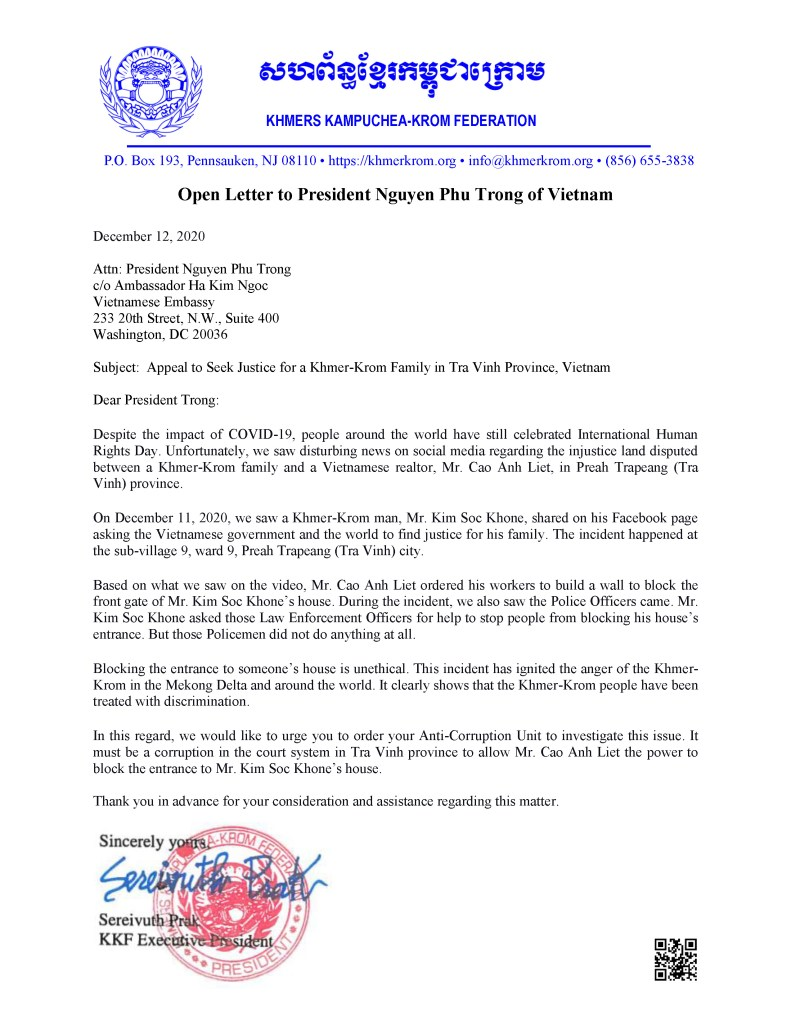 Open Letter to President Nguyen Phu Trong of Vietnam – KKF   Khmers  Kampuchea-Krom Federation