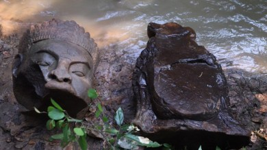 Photo of Statue Fragments Found Near Cambodia's Bayon Temple