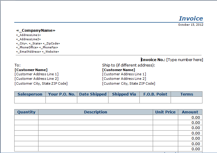 sample invoice layout