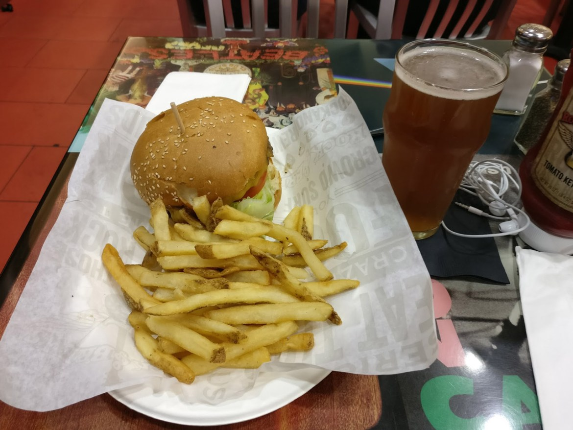I did have some time for a nice burger and a glass of locally brew beer before boarding. Very satisfied.