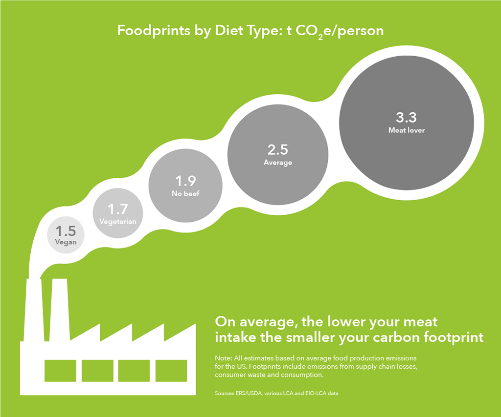 Image showing carbon footprint for different diet types, with vegan being the lowest and high meat intake being the highest