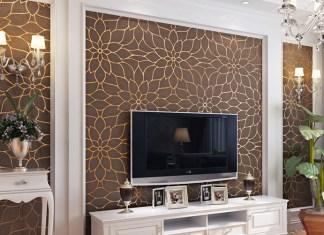 Giấy dán tường hoa cúc 3D161 màu nâu phòng khách