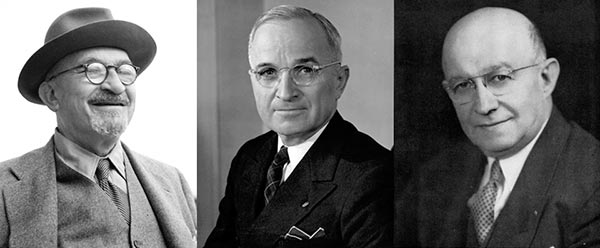 (Left to Right: Chaim Weizmann, Harry Truman, Eddie Jacobson. Image: Truman Library, Wikipedia)