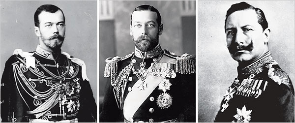 Czar Nicholas II of Russia, King George V of Britain and Kaiser Wilhelm II of Germany.