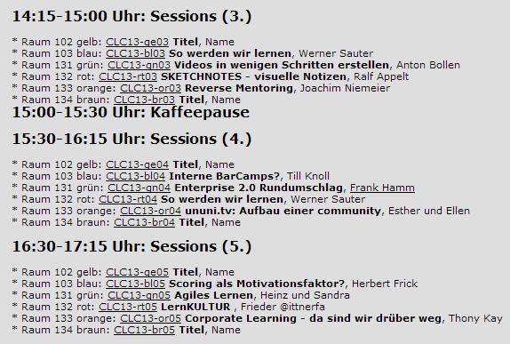 Auszug aus Sessionplan CLC13
